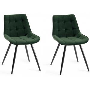 Bentley Designs Seurat Furniture Green Velvet Fabric Chairs Pair