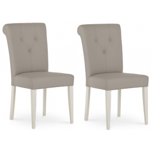 Montreux Soft Grey Painted Furniture Upholstered Leather Chair Pair