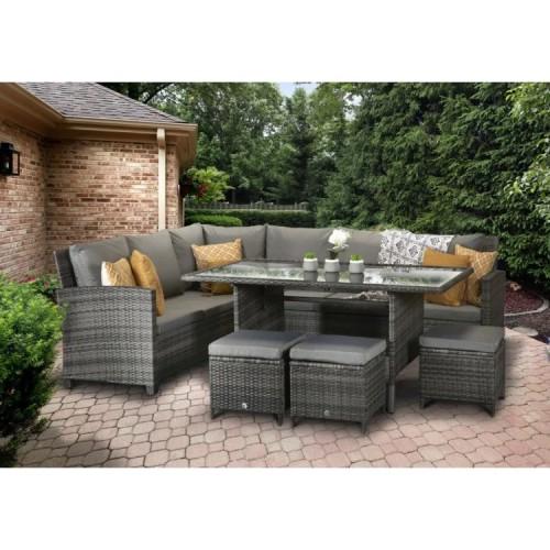 Signature Weave Garden Furniture Rattan Charlotte Corner Dining Sofa Set In Grey