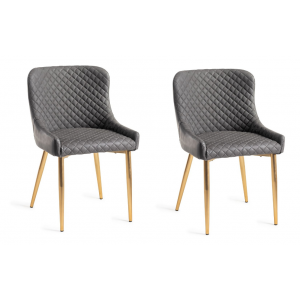 Bentley Designs Cezanne Furniture Dark Grey Faux Leather Chair (Pair)