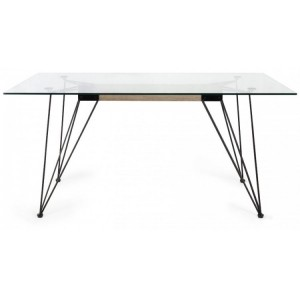 Bentley Designs Miro Clear Tempered Glass 6 Seater Dining Table