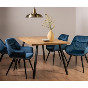 Bentley Designs Ramsay Rustic Oak Effect Melamine 6 Seater Dining Table with 4 Dali Petrol Blue Velvet Fabric Chairs