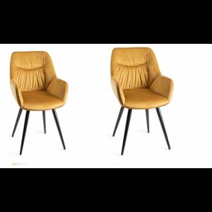 Bentley Designs Dali Furniture Mustard Velvet Fabric Chairs