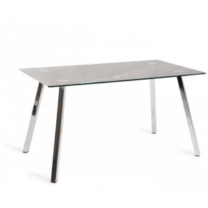 Bentley Designs Emin Black Marble Effect Tempered Glass 6 Seater Dining Table