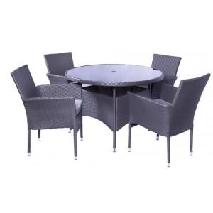 Royalcraft Garden Furniture Malaga 4 Seater Stacking Round Dining Set