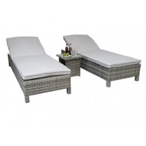 Signature Weave Garden Furniture Sarena Grey Weave Sunbeds and Side Table Set