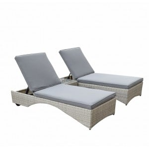 Signature Weave Meghan Pair of Sunbed's with Side Table
