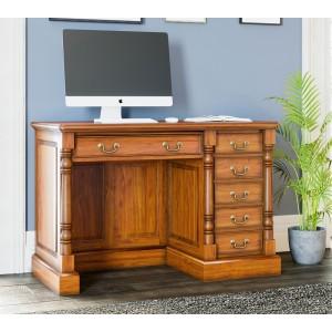 La Reine Mahogany Furniture Light Brown Single Pedestal Computer Desk