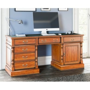 La Reine Cadence Mahogany Furniture Light Brown Twin Pedestal Computer Desk