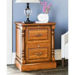 La Reine Mahogany Furniture Light Brown Two Drawer Filing Cabinet
