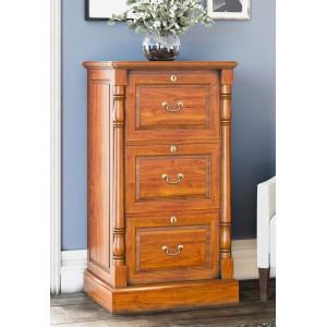 La Reine Mahogany Furniture Light Brown Three Drawer Filing Cabinet