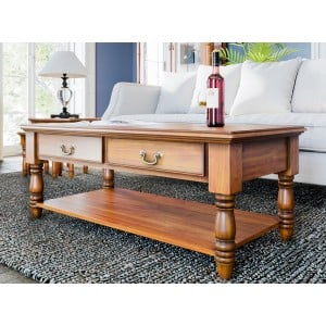 La Reine Mahogany Furniture Light Brown Coffee Table with Drawers