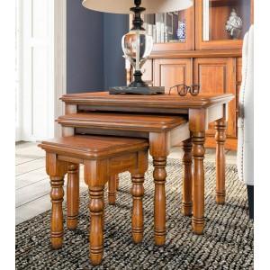 La Reine Mahogany Furniture Light Brown Nest of Three Tables