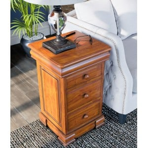 La Reine Mahogany Furniture Light Brown Bedside Cabinet with Four Drawers