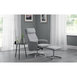 Julian Bowen Furniture Aria Grey Linen Recliner and Stool Set