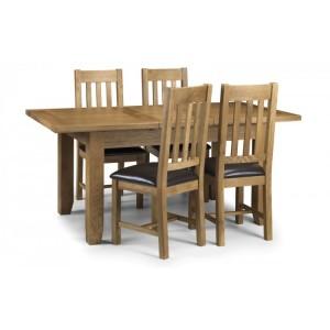 Julian Bowen Oak Furniture Astoria 4 Seater Extending Dining Table Set