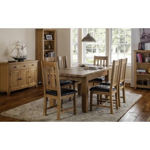 Julian Bowen Oak Furniture Astoria 6 Seater Extending Dining Table Set