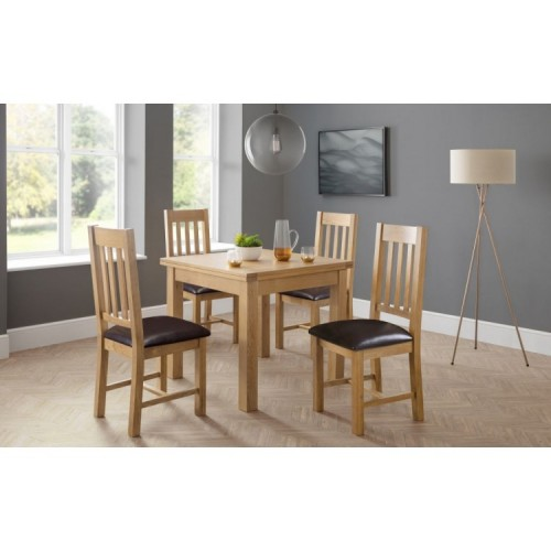 Julian Bowen Oak Furniture Astoria 4 Seater Flip Top Dining Table Set