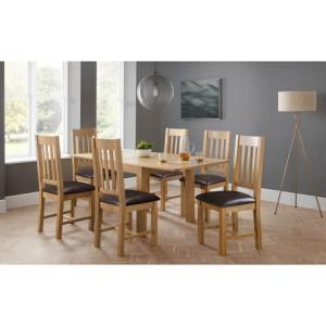 Julian Bowen Oak Furniture Astoria 6 Seater Flip Top Dining Table Set