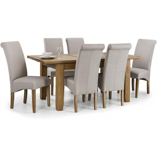 Julian Bowen Furniture Astoria Extending Dining Table Set with 6 Rio Scrollback Fabric Dining Chair
