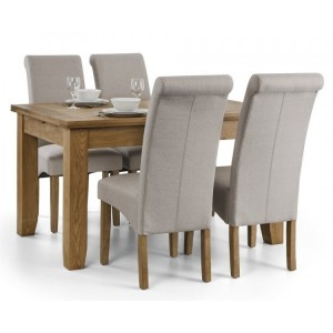 Julian Bowen Furniture Astoria Extending Dining Table Set with 4 Rio Scrollback Fabric Dining Chair
