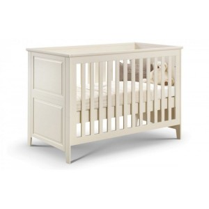 Julian Bowen Furniture Stone White Cameo Changing Station and Cameo Cot Bed with Airwave Foam Mattress