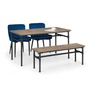 Julian bowen furniture Carnegie Dining Table and Carnegie Bench Set with 2 Luxe Blue Velvet Chairs