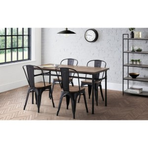 Julian bowen furniture Carnegie Dining Table with 4 Grafton Metal Chairs