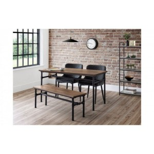 Julian bowen furniture Carnegie Dining Table and Carnegie Bench Set with 2 Luxe Grey Velvet Chairs