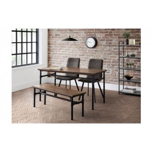 Julian bowen furniture Carnegie Dining Table and Carnegie Bench Set with 2 Monroe Chairs