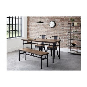 Julian bowen furniture Carnegie Dining Table and Carnegie Bench Set with 2 Grafton Metal Chairs
