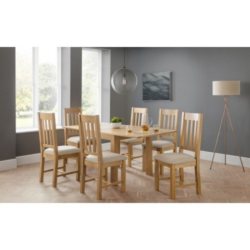 Julian Bowen Furniture Astoria Flip Top Dining Table Set with 6 Hereford Taupe Linen Fabric Dining Chairs