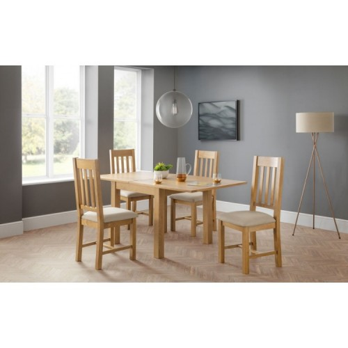 Julian Bowen Furniture Astoria Flip Top Dining Table Set with 4 Hereford Taupe Linen Fabric Dining Chairs