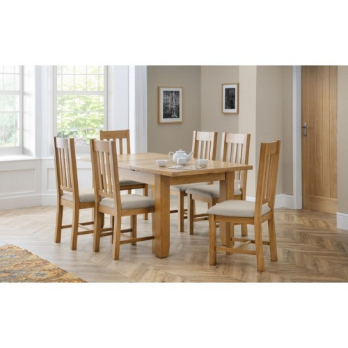Julian Bowen Furniture Astoria Extending Dining Table Set with 6 Hereford Taupe Linen Fabric Dining Chairs