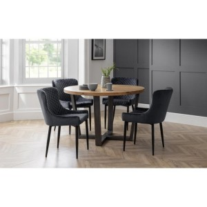 Julian Bowen Furniture Brooklyn Round Dining Table and 4 Luxe Grey Chairs