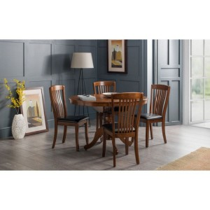 Julian Bowen Furniture Mahogany Canterbury Round to oval extending Dining Table with 4 chair