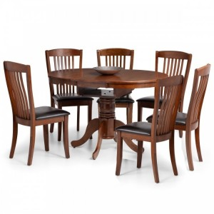 Julian Bowen Furniture Mahogany Canterbury Round to oval extending Dining Table with 6 chair