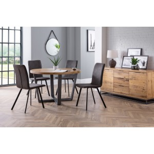 Julian Bowen Furniture Brooklyn Round Dining Table and 4 Monroe Chairs
