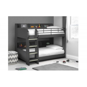 Julian Bowen Furniture Domino Anthracite Bunk Bed With 2 Capsule Reflex Roll-up Mattress