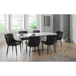 Julian Bowen Furniture Como High Gloss Extending Dining Table with 6 Luxe Grey Chairs