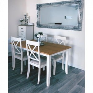 Julian Bowen White Painted Furniture Davenport Dining Table with 4 Davenport Dining Chairs