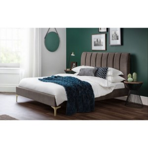 Julian Bowen Furniture Deco Fabric Scalloped King Size 5ft Bed with Capsule Gel Luxury Mattress