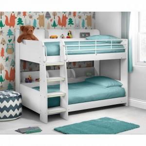 Julian Bowen Furniture Domino White Bunk Bed With 2 Comfy Mattress