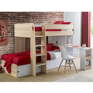 Julian Bowen Furniture Eclipse Oak and White Bunk Bed with Drawers and 2 Platinum Mattress