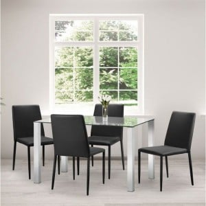 Julian Bowen Furniture Enzo Glass Top Compact Dining Table with 4 Jazz Black Chair
