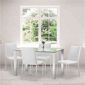 Julian Bowen Furniture Enzo Glass Top Compact Dining Table with 4 Jazz White Chair