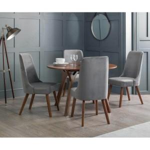 Julian Bowen Huxley Walnut Round Table with 4 Huxley Dusk Grey Chenille Dining Chairs