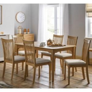 Julian Bowen Ibsen Oak Extending Dining Table with 6 Ibsen 7 Slat Dining Chair