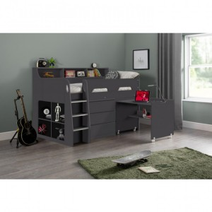 Julian Bowen Furniture Jupiter Anthracite Midsleeper 3ft Bed with Drawers and Premier Mattress