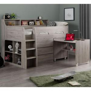 Julian Bowen Furniture Jupiter Grey Oak Midsleeper 3ft Bed with Drawers and Platinum Mattress